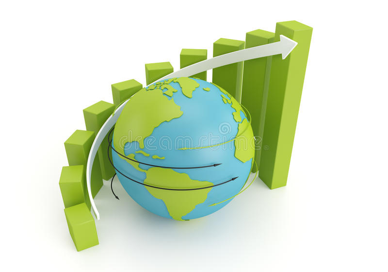 Globe graph. Green earth globe with grow bar chart on arrow around, 3d image stock illustration