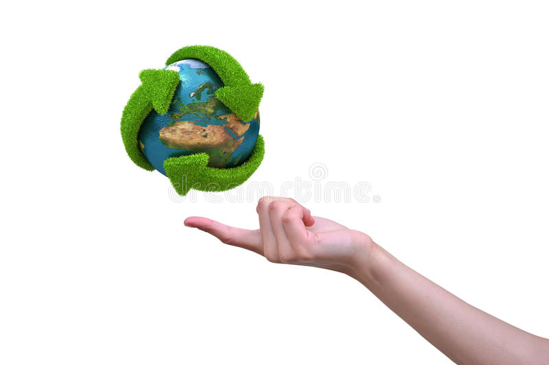 Globe With Grass Arrows Of Recycle Royalty Free Stock Photos