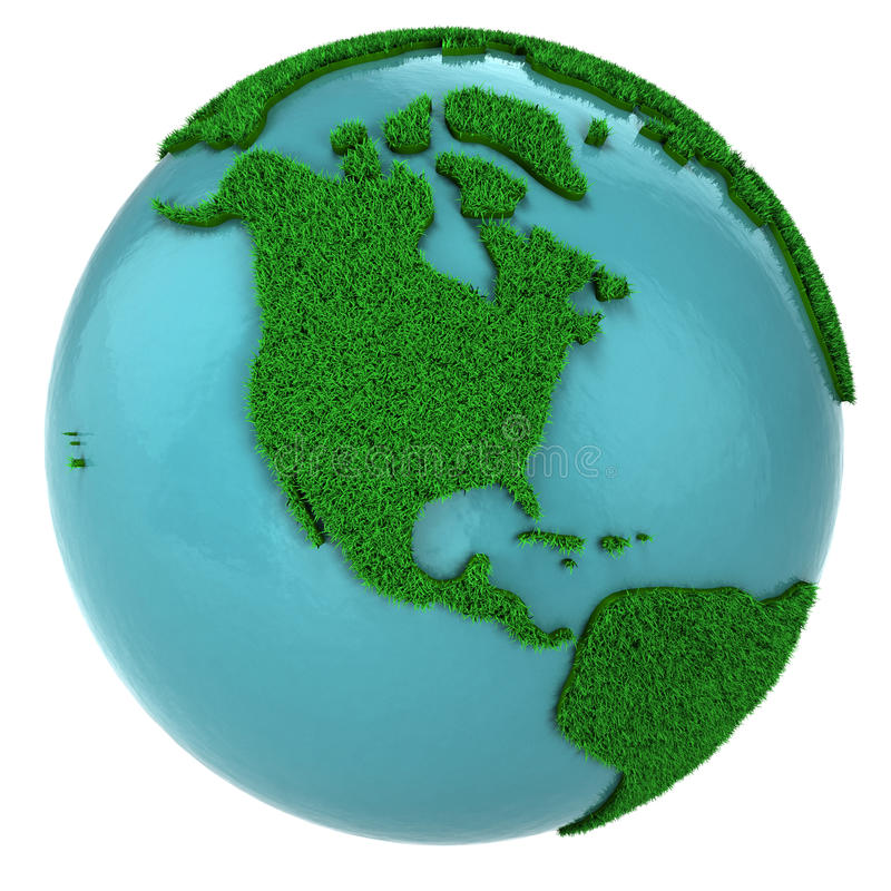 Globe of grass and water, North America part vector illustration