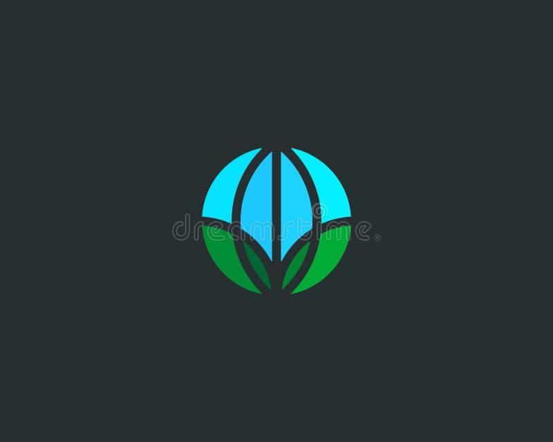Globe green leaf logo. Earth eco vector logotype. royalty free illustration