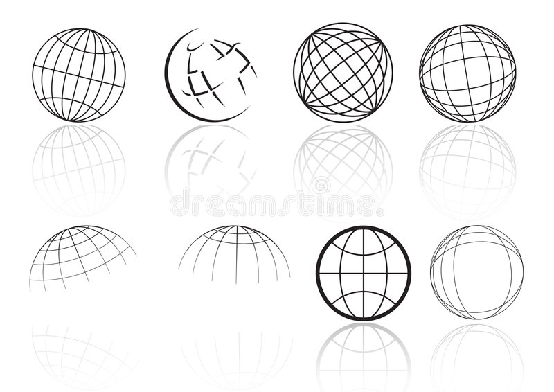 Globe grid reflection - vector royalty free illustration