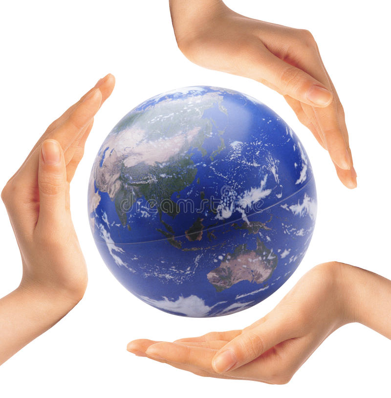 Globe in the hands stock photos