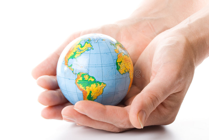 The globe in hands. Concept for environment conservation stock images