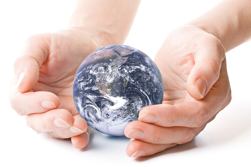The globe in hands. NASA globe in hands. Concept for environment conservation royalty free stock photos
