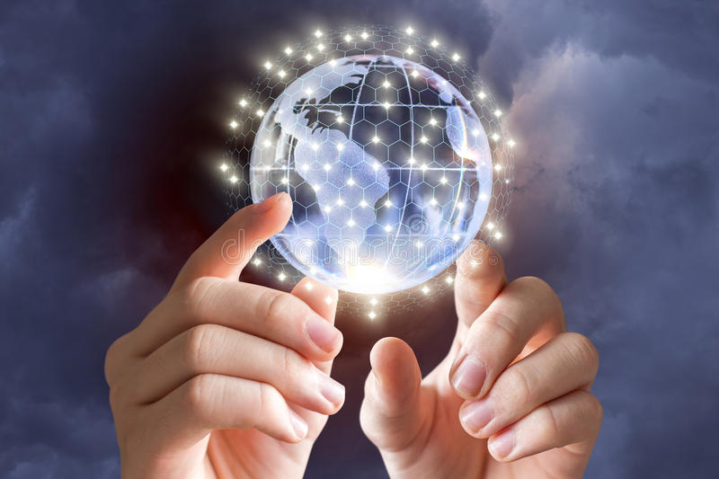 Globe in the hands of a businessman. royalty free stock images