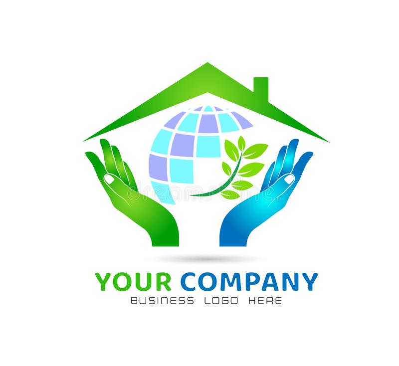 Globe in hands with green leaf icon family union, love care in hands logo stock illustration
