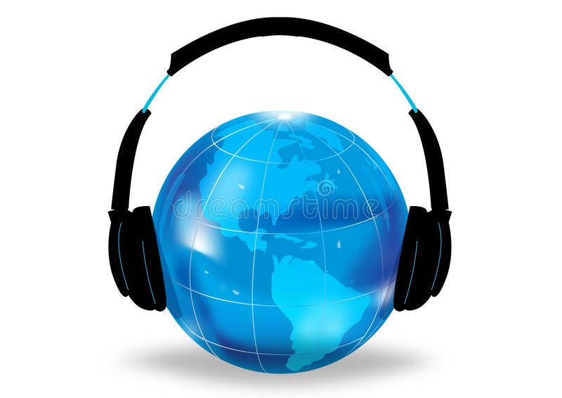 Illustrated Earth with headphones vector illustration