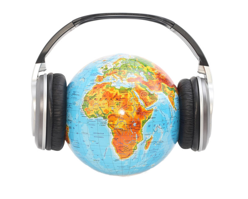 Download Globe with headphones stock photo. Image of geography - 13019600