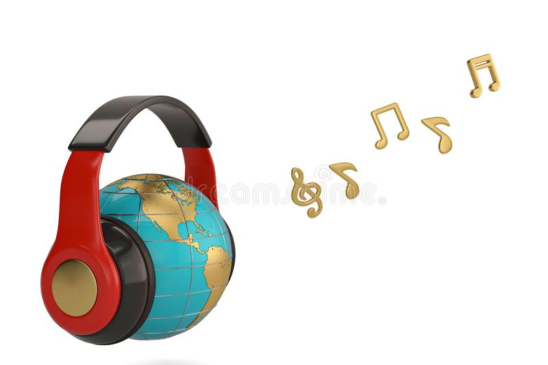 Globe with headset and notes creative concept 3d illustration. vector illustration