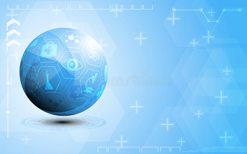 Globe health care and science icon concept abstract background royalty free illustration