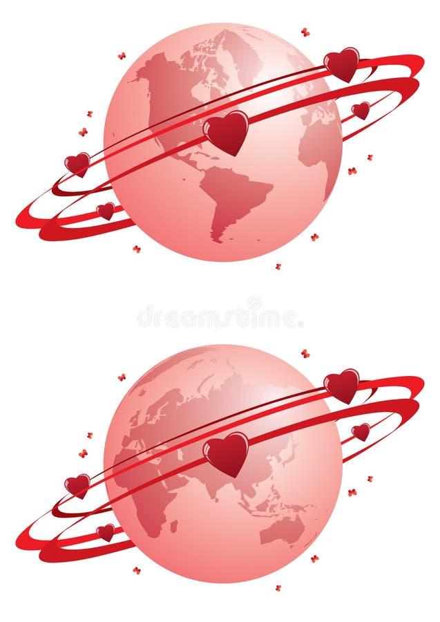 Globe and hearts royalty free illustration