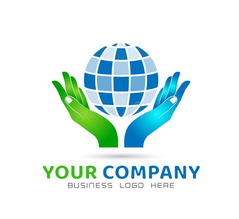 Globe holding hands icon family union, love care in hands logo. Globe holding hands icon family union, home love care in hands logo in ai10 illustration stock illustration