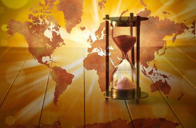 Global Hourglass Time Climate Change stock photos
