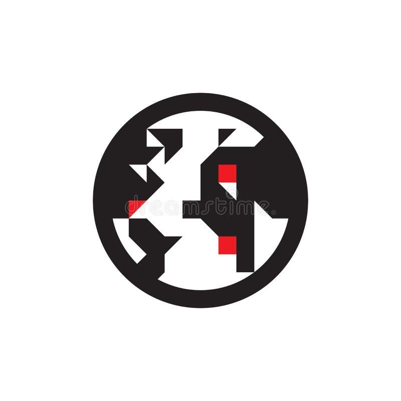Globe - icône noire sur l'illustration blanche de vecteur de fond Signe de concept de planète de la terre Symbole abstrait du mon illustration libre de droits