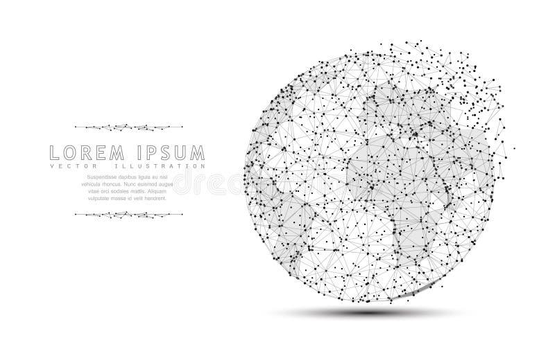 Globe Icône polygonale de maille de wireframe avec le bord emietté Illustration ou fond de concept illustration stock