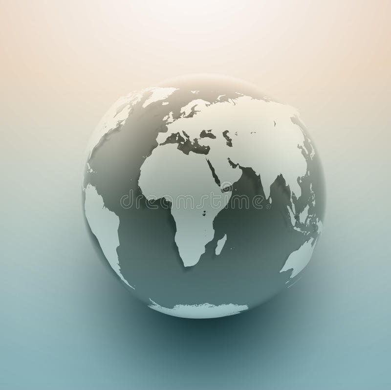 Globe Icon. Background with smooth vector shadows and map of the continents of the world stock illustration