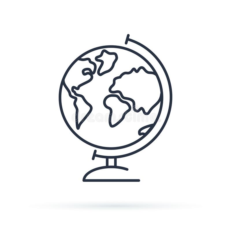 Globe icon. Earth illustration for study. World Icon isolated on background. Modern flat style pictogram. Internet concept. Trendy Simple symbol for web site vector illustration