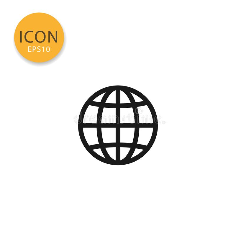 Globe icon isolated flat style. Globe icon flat style in black color vector illustration on white background stock illustration