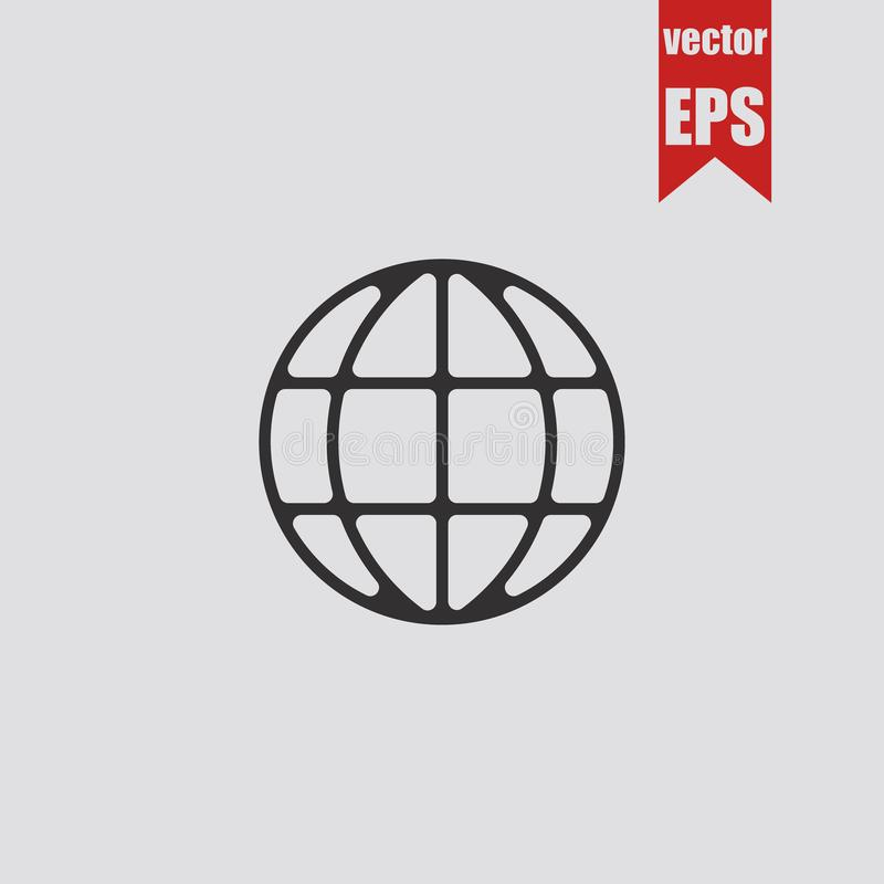 Globe icon isolated on grey background.Vector illustration. stock illustration