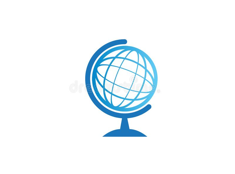 Globe icon logo design illustration on white background. Round planet earth royalty free illustration