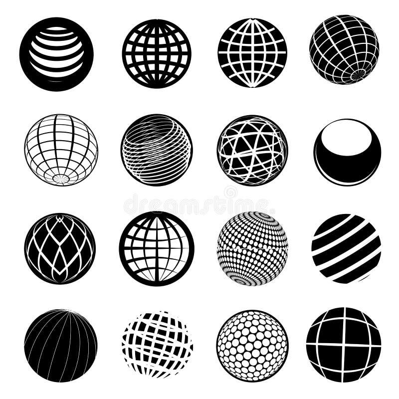 Globe Icon Set. Set of globe icon set in black vector illustration