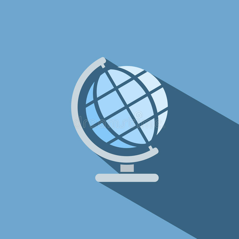 Globe icon with shade. On blue background royalty free illustration