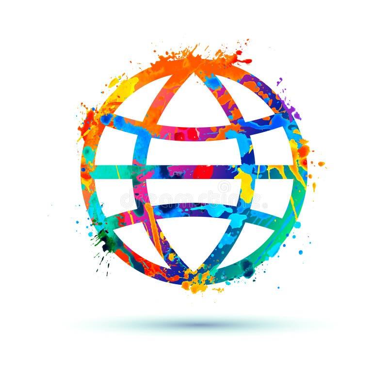 Free Globe Icon. Slash Paint Sign Stock Image - 195751661