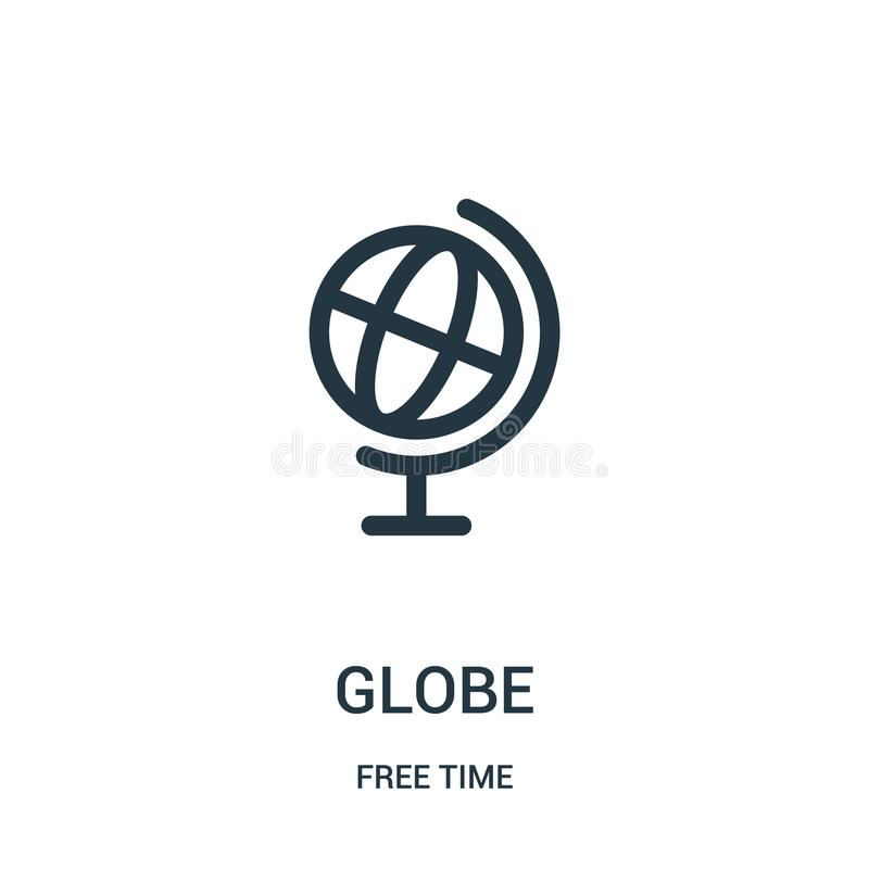 globe icon vector from free time collection. Thin line globe outline icon vector illustration. Linear symbol for use on web and vector illustration
