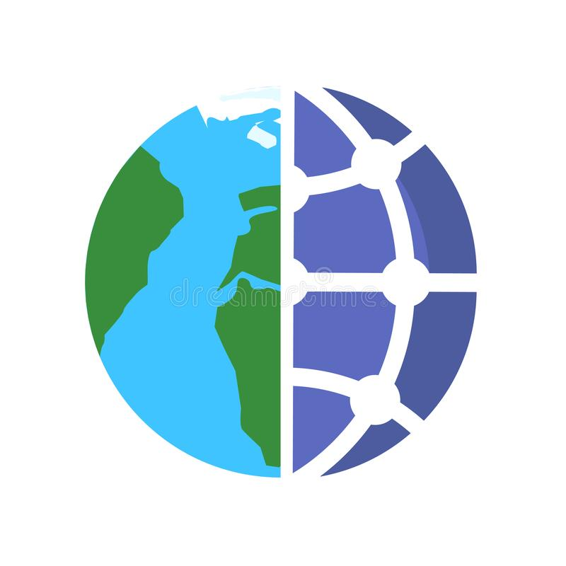 Globe icon vector sign and symbol isolated on white background, Globe logo concept stock illustration