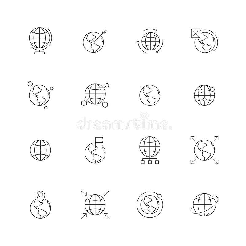 Globe icon. World wide map navigation points earth international flags country path vector thin line symbols. Illustration of global direction, location royalty free illustration