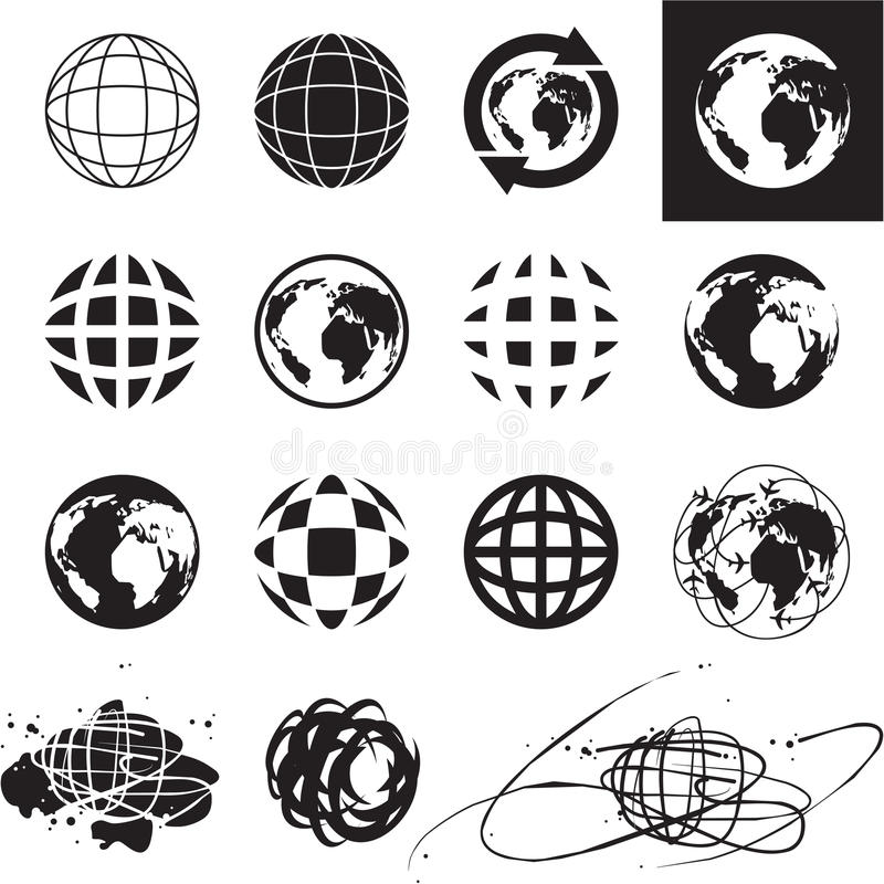 Globe icons stock illustration