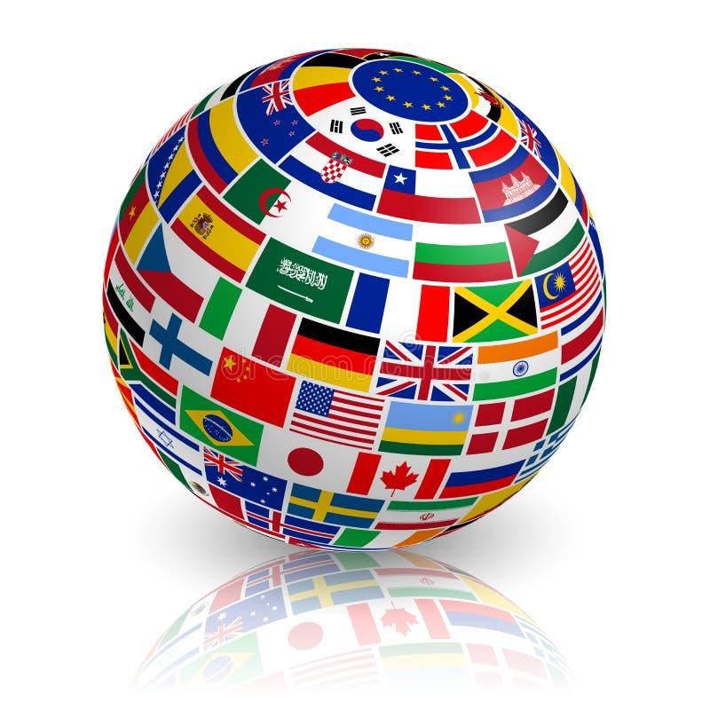 globe incliné du drapeau 3D illustration de vecteur