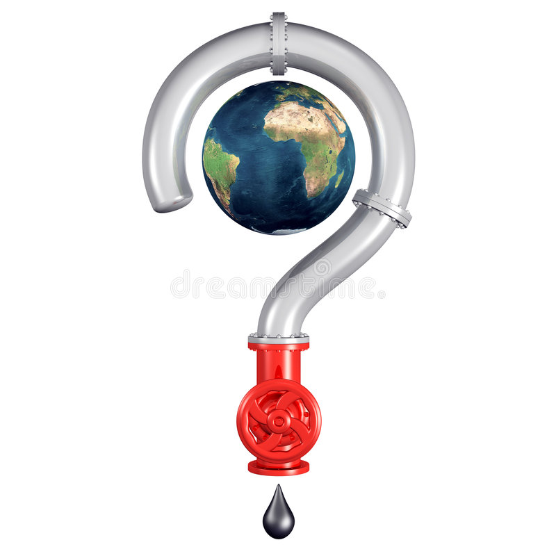 Globe inside a pipe question mark stock illustration