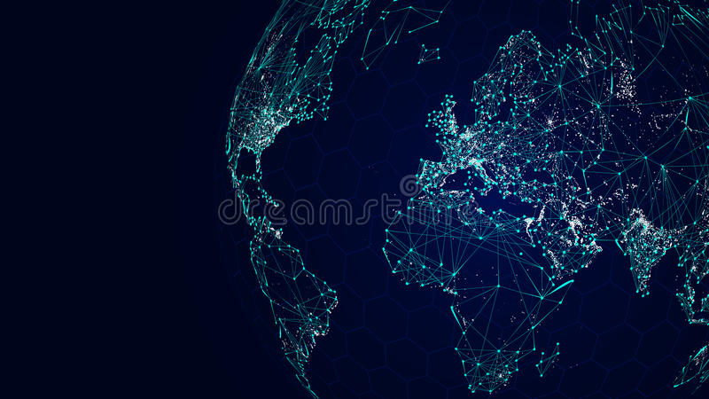 Globe international network, sci-fi world map background. Vector illustration royalty free illustration