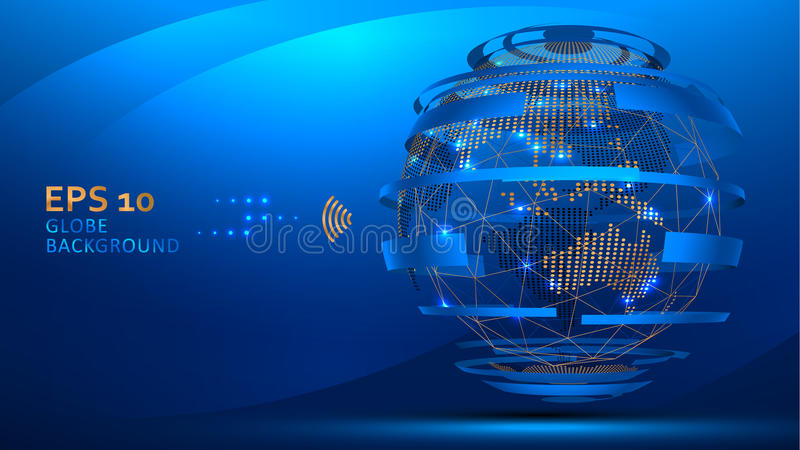 Globe internet background . Web futuristic technology concept. Planet Earth wire frame and dots royalty free illustration