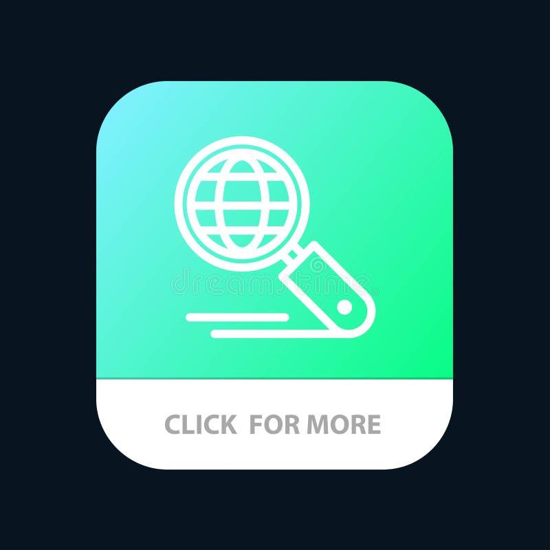Globe, Internet, recherche, Seo Mobile App Button Android et ligne version d'IOS illustration stock