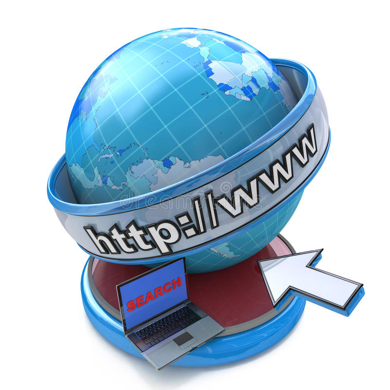 Globe internet searching concept, web page or internet browser. royalty free illustration