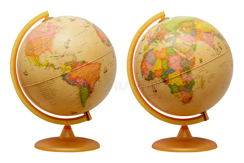 Globe, isolated, white background. Map of Earth royalty free stock photo