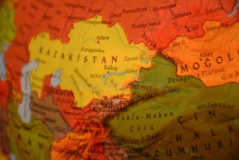 Globe Kazakhstan, mongolian et la Chine photographie stock libre de droits