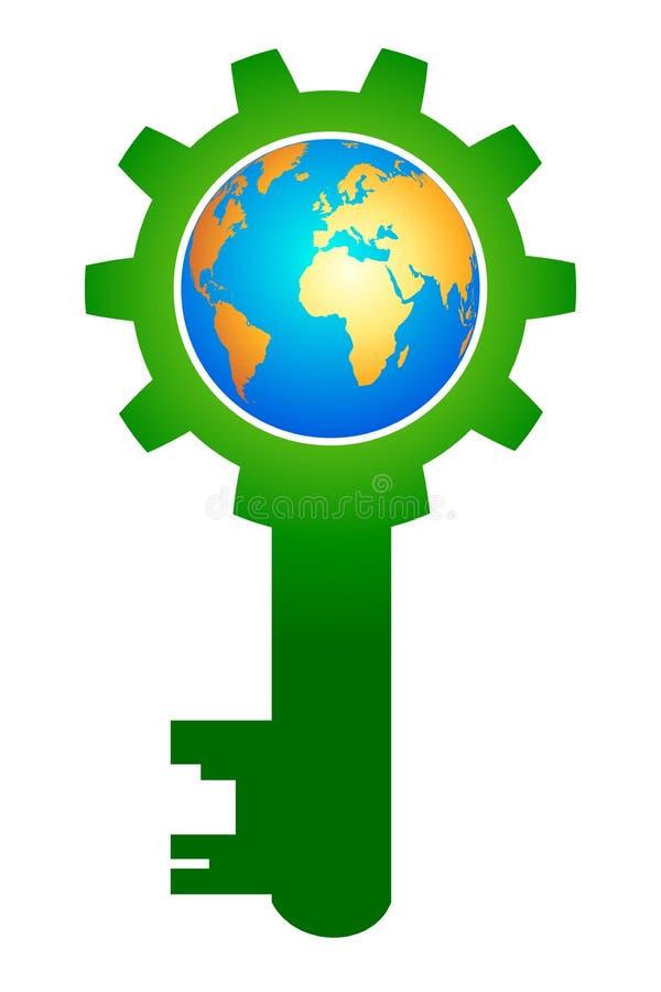 Globe key. Illustration of globe key design isolated on white background stock illustration