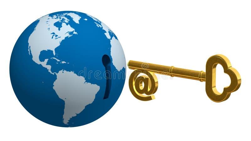 Globe Key 3D vector illustration