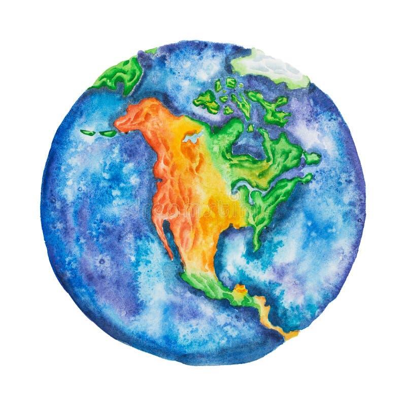 Globe L'Amérique du Nord sur terre de planète tirée par la main avec la technique d'aquarelle d'isolement sur le fond blanc illustration stock