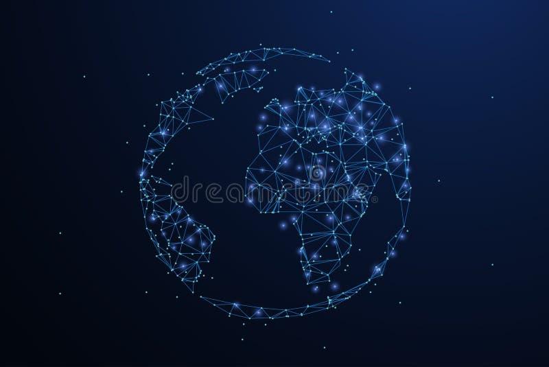 Globe L'icône polygonale de maille de wireframe avec le bord emietté ressemble à la constellation Illustration ou fond de concept illustration stock