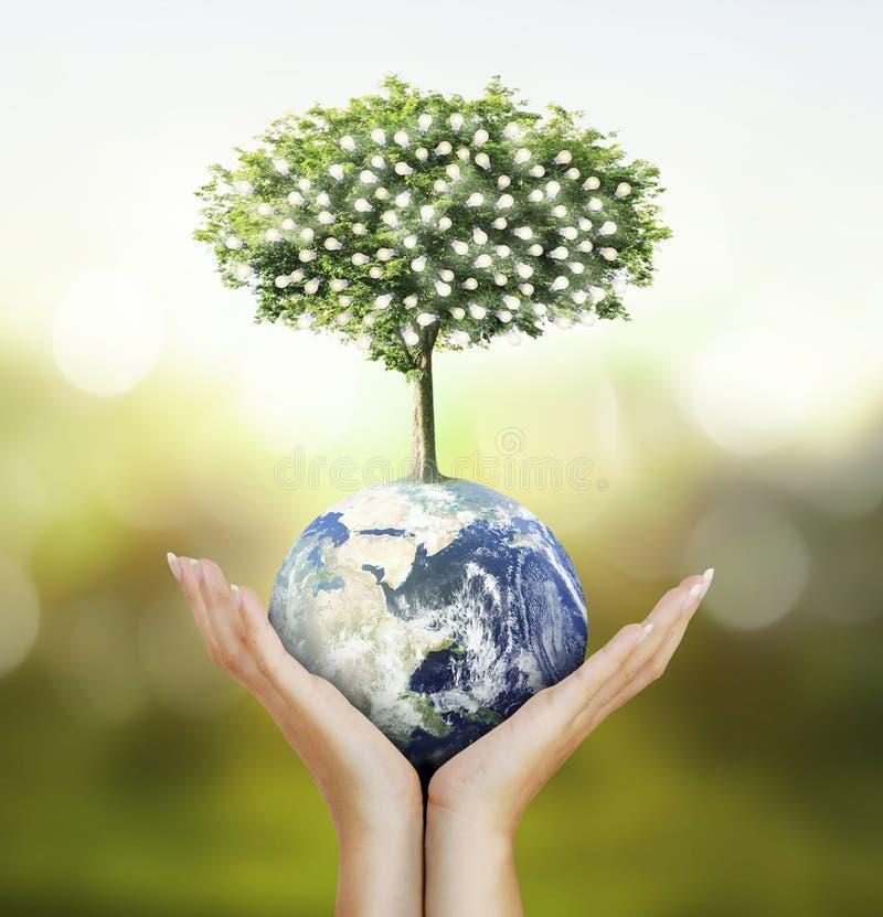 Globe, la terre dans la main humaine, main tenant notre glowin de la terre de planète photo libre de droits