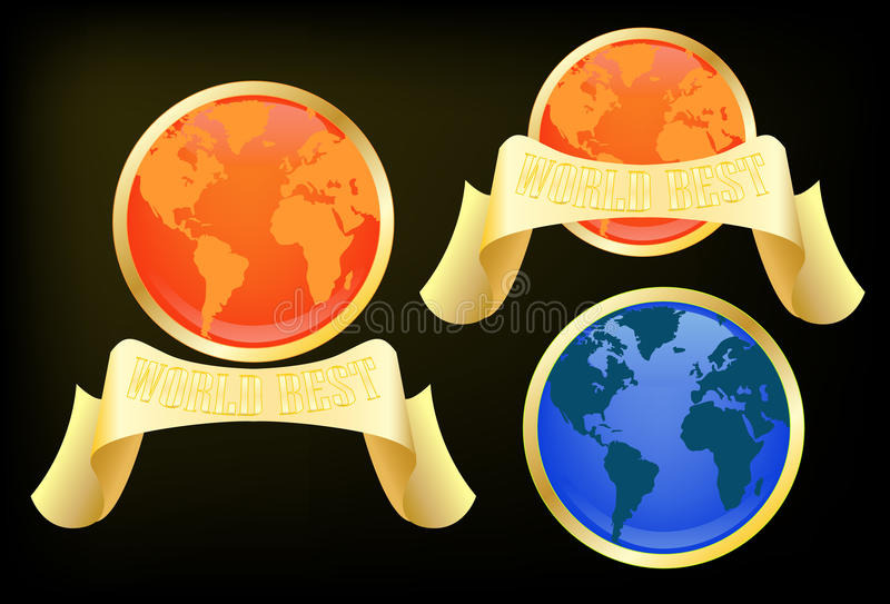 Download Globe Label With Word Best Text Stock Vector - Image: 21995257