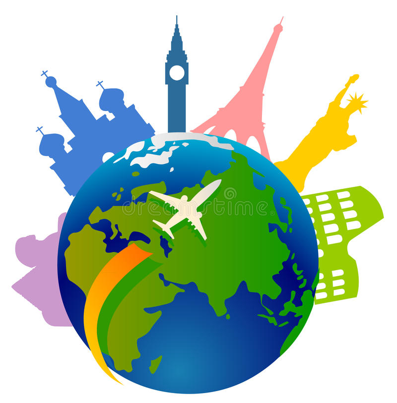Globe with landmark icons royalty free illustration