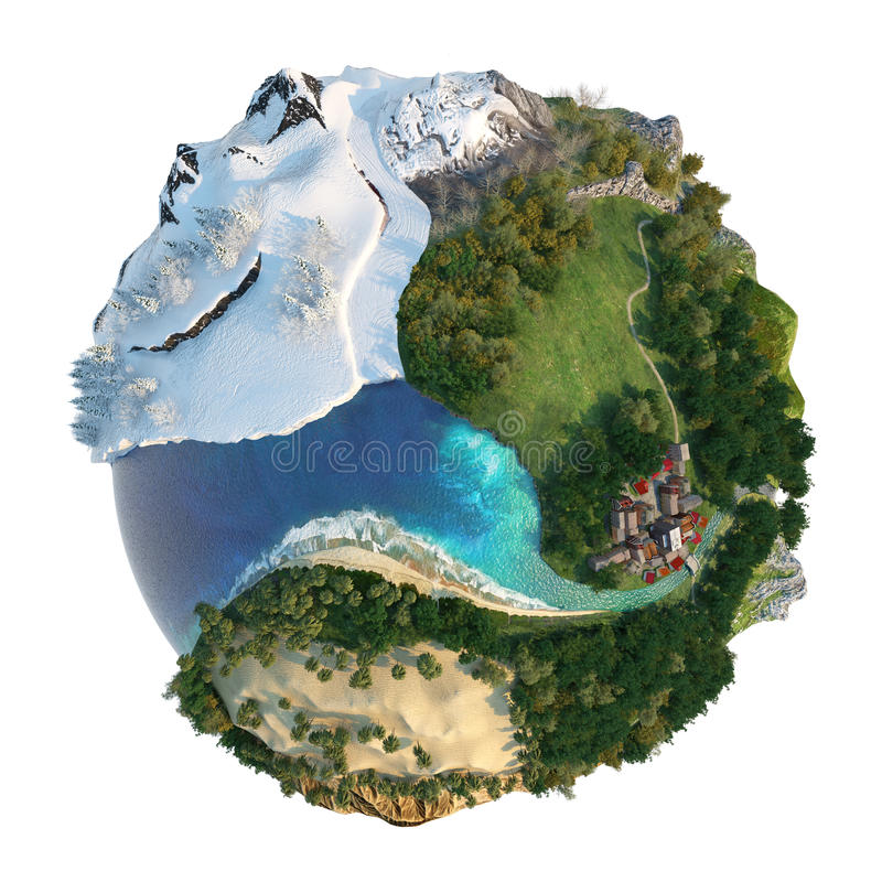 Globe landscapes diversity royalty free illustration