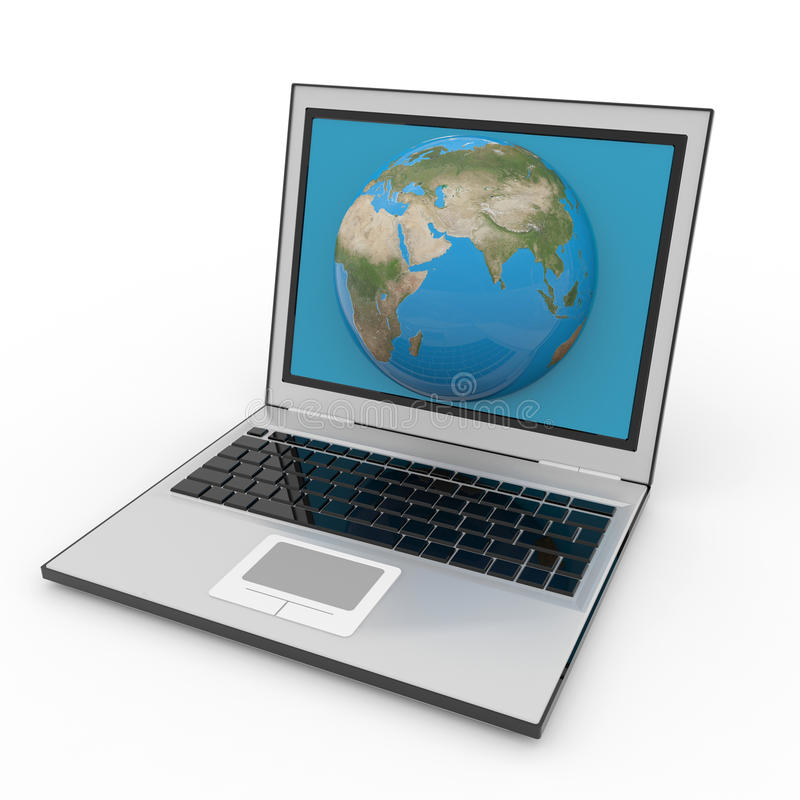 Download Globe Into Laptop Screen Stock Image - Image: 21379861