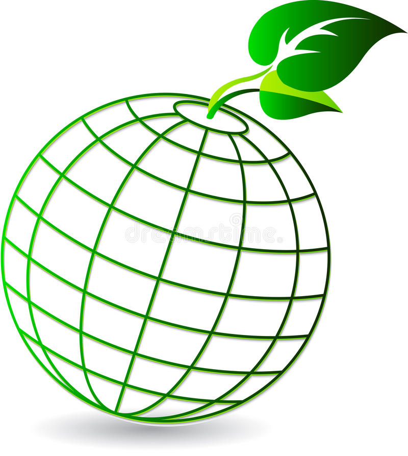 Globe leaf logo royalty free illustration