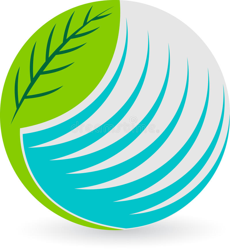 Globe leaf logo stock illustration